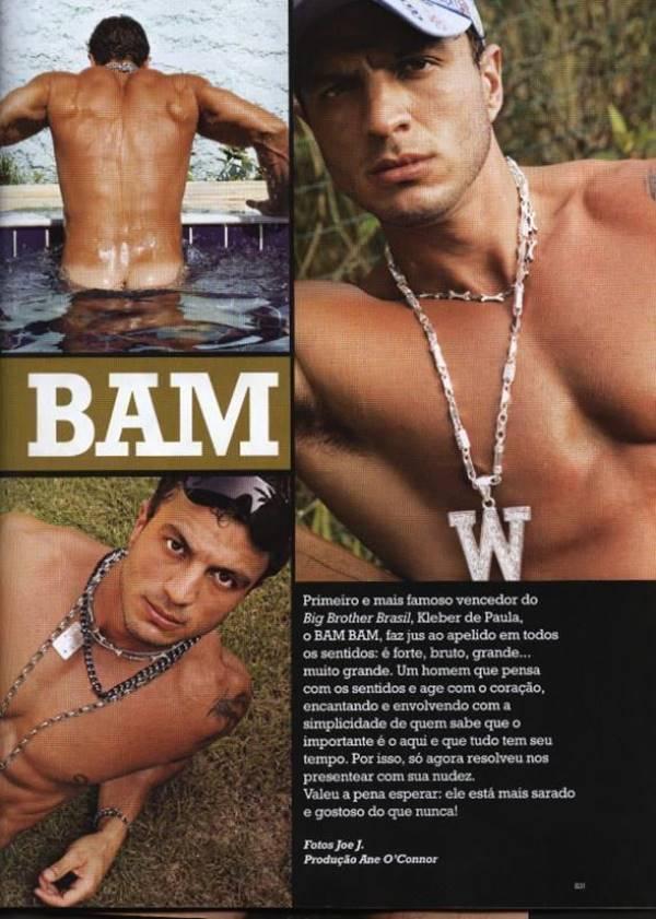 Kleber Bambam pelado de pau duro na revista G Magazine